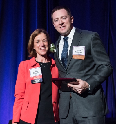 KCBA President Kathryn Battuello and 2017 Winner Jason Rittereiser -- click for larger photo
